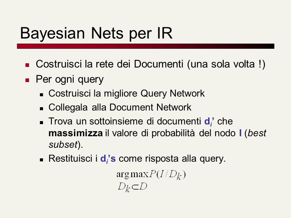 Bayesian Nets per IR Costruisci la rete dei Documenti (una sola volta !) Per ogni query. Costruisci la migliore Query Network.