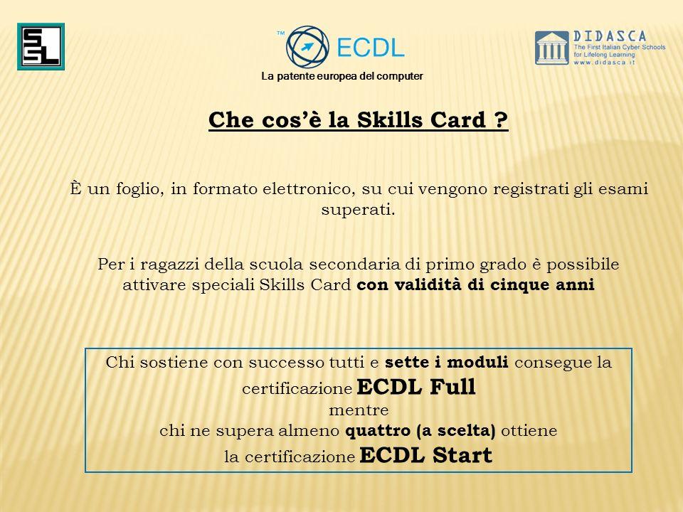 La patente europea del computer Che cos'è la Skills Card