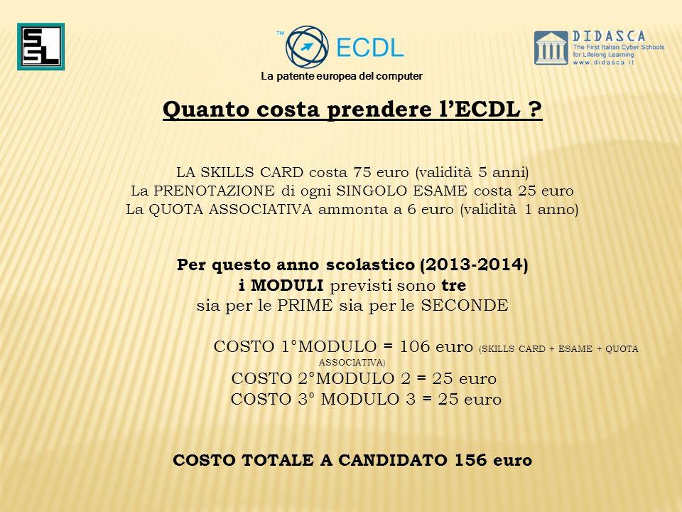 Quanto costa prendere l'ECDL