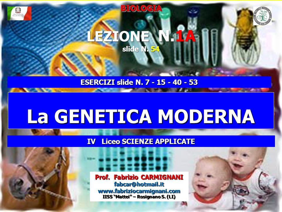 La GENETICA MODERNA LEZIONE N.1A BIOLOGIA slide N. 54