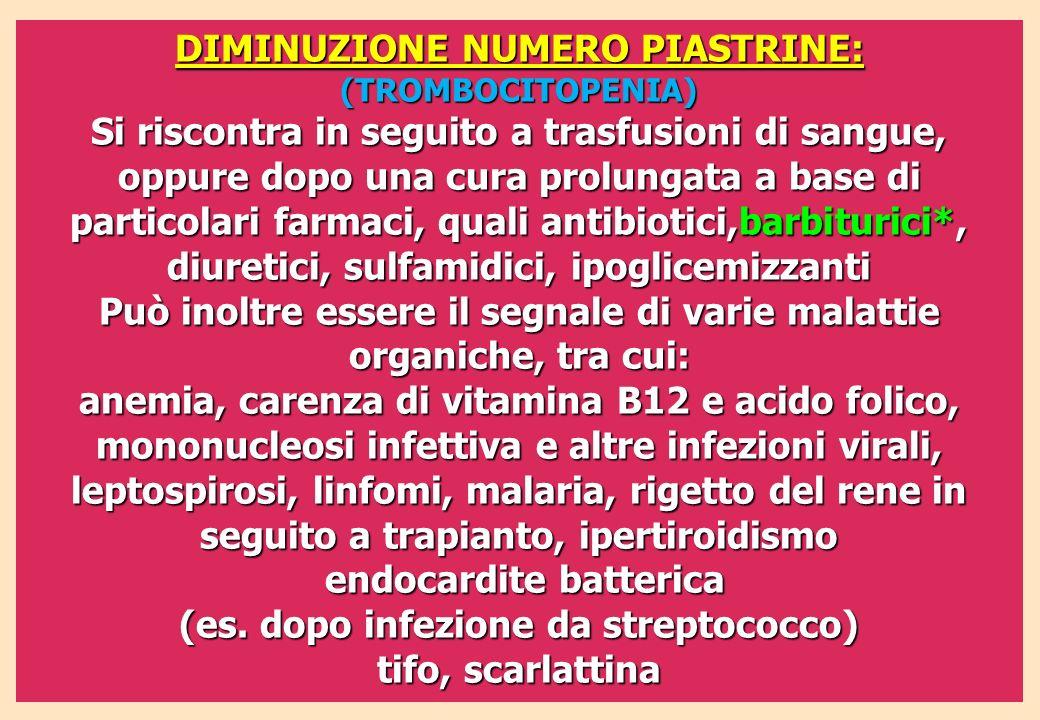 DIMINUZIONE NUMERO PIASTRINE: