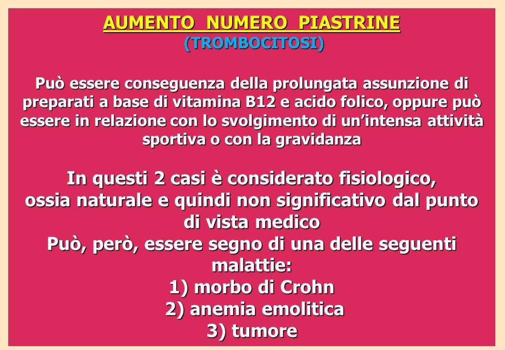 AUMENTO NUMERO PIASTRINE