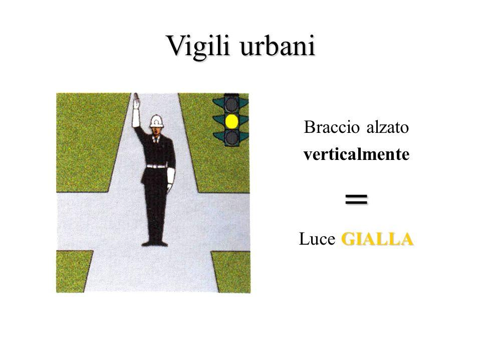 Vigili urbani Braccio alzato verticalmente = Luce GIALLA