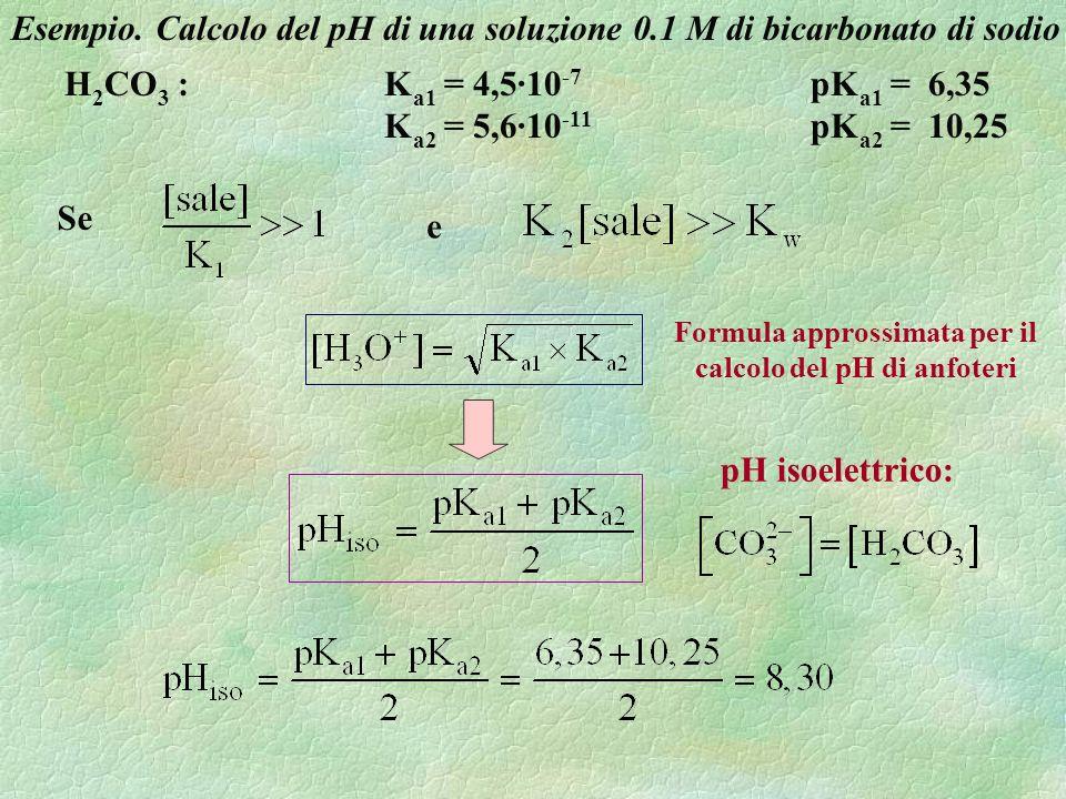 Esempio. Calcolo del pH di una soluzione 0.1 M di bicarbonato di sodio