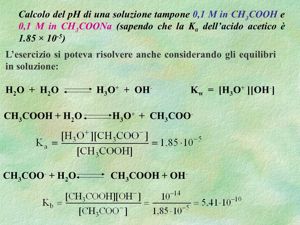 Calcolo del pH di una soluzione tampone 0,1 M in CH3COOH e 0,1 M in CH3COONa (sapendo che la Ka dell'acido acetico è 1.85 × 10-5)