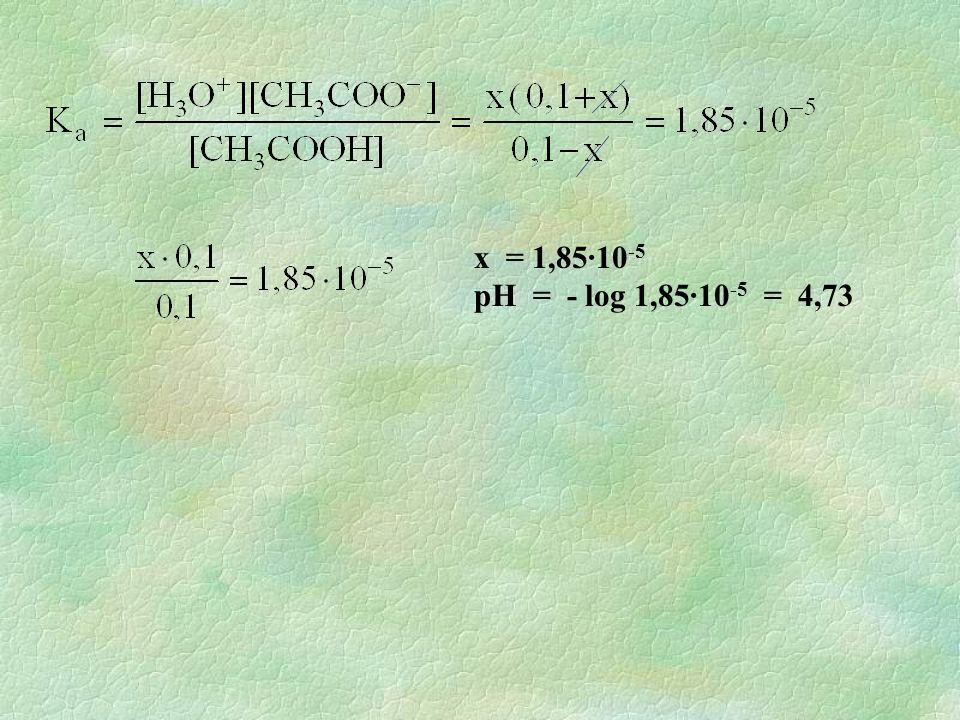x = 1,85·10-5 pH = - log 1,85·10-5 = 4,73