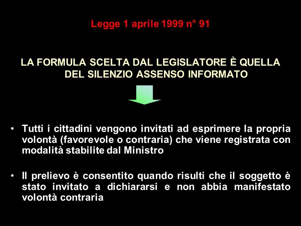 Legge 1 aprile 1999 n° 91 LA FORMULA SCELTA DAL LEGISLATORE È QUELLA DEL SILENZIO ASSENSO INFORMATO.
