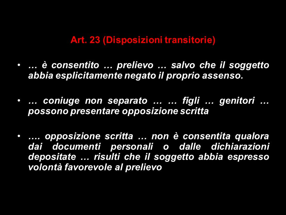 Art. 23 (Disposizioni transitorie)