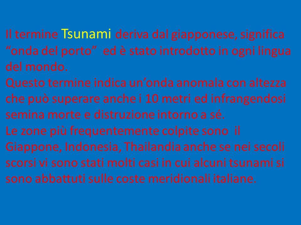 Il termine Tsunami deriva dal giapponese, significa onda del porto ed è stato introdotto in ogni lingua del mondo.