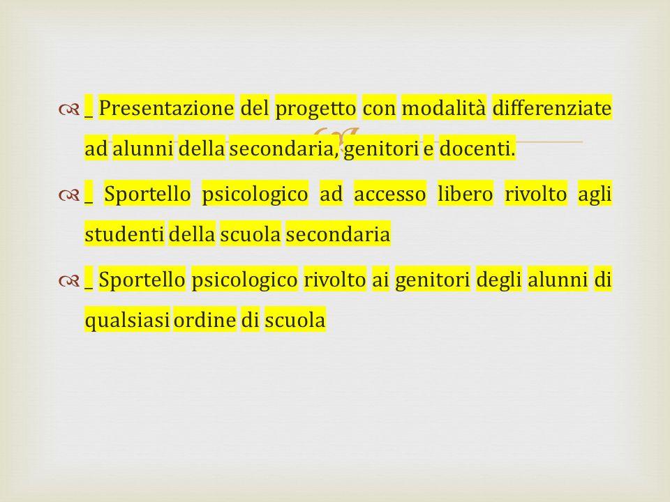 _ Presentazione del progetto con modalità differenziate ad alunni della secondaria, genitori e docenti.