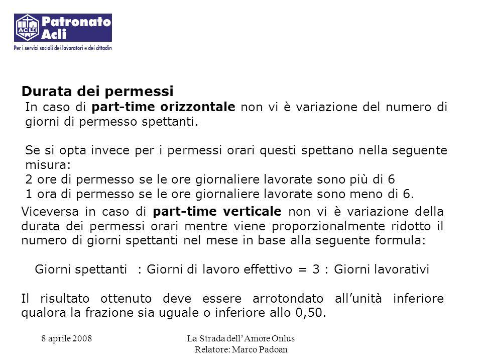 Durata dei permessi In caso di part-time orizzontale non vi è variazione del numero di giorni di permesso spettanti.