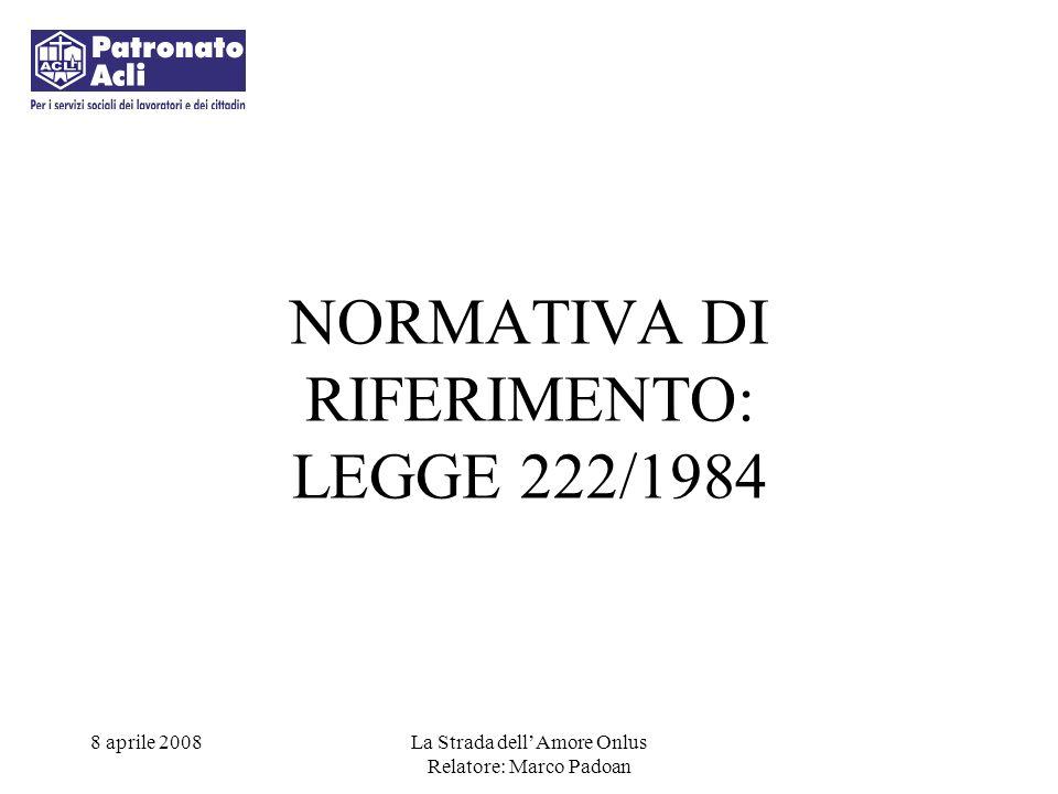 NORMATIVA DI RIFERIMENTO: LEGGE 222/1984