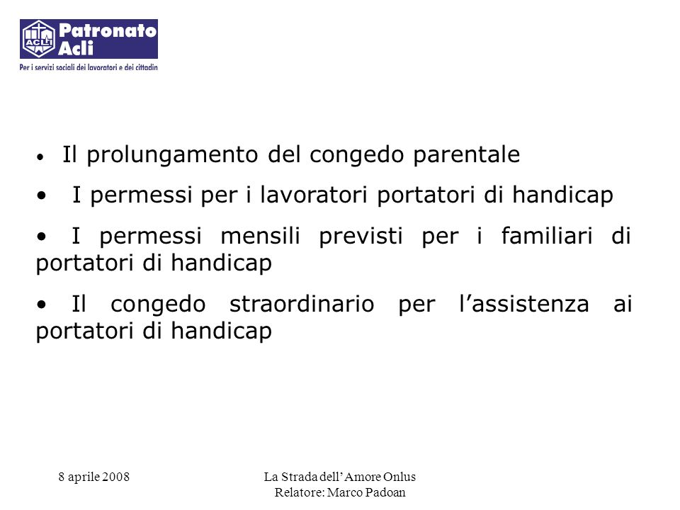 I permessi per i lavoratori portatori di handicap