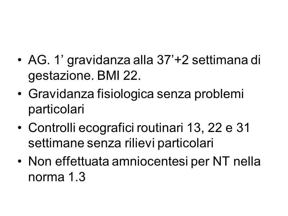 AG. 1' gravidanza alla 37'+2 settimana di gestazione. BMI 22.
