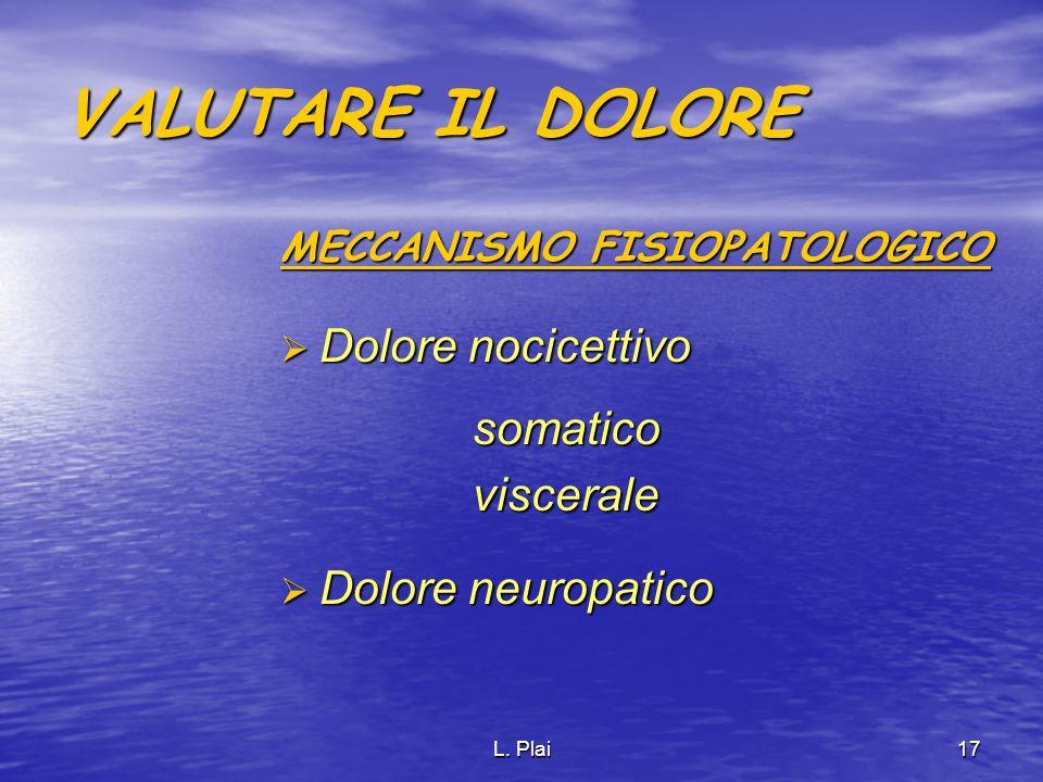 VALUTARE IL DOLORE Dolore nocicettivo somatico viscerale