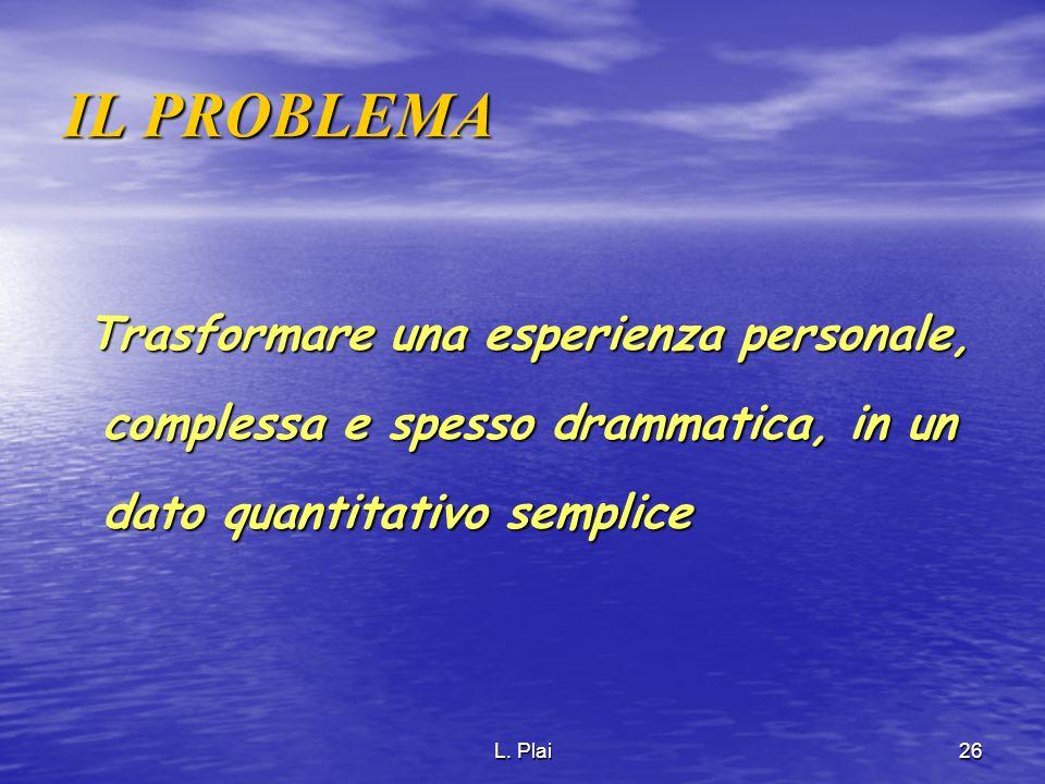 IL PROBLEMA Trasformare una esperienza personale, complessa e spesso drammatica, in un dato quantitativo semplice.