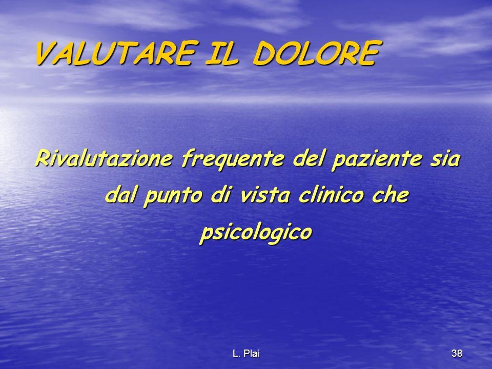 VALUTARE IL DOLORE Rivalutazione frequente del paziente sia dal punto di vista clinico che psicologico.