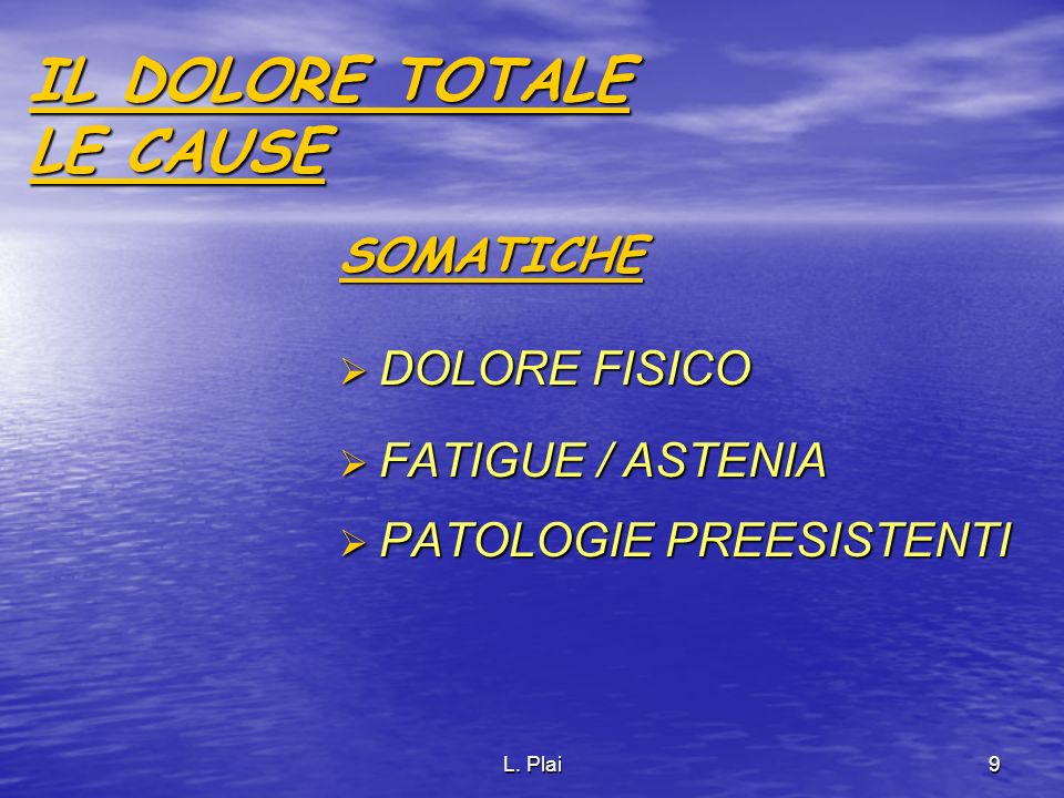 IL DOLORE TOTALE LE CAUSE