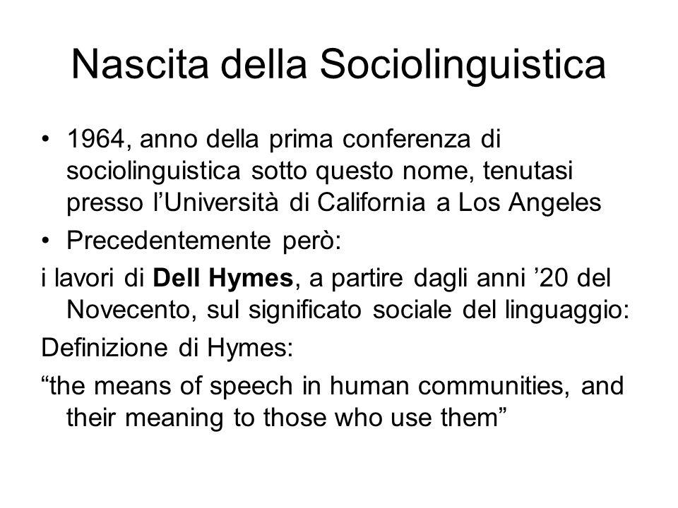 Nascita della Sociolinguistica
