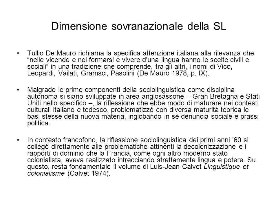 Dimensione sovranazionale della SL