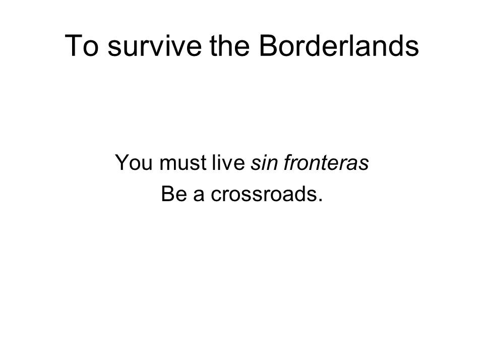 To survive the Borderlands