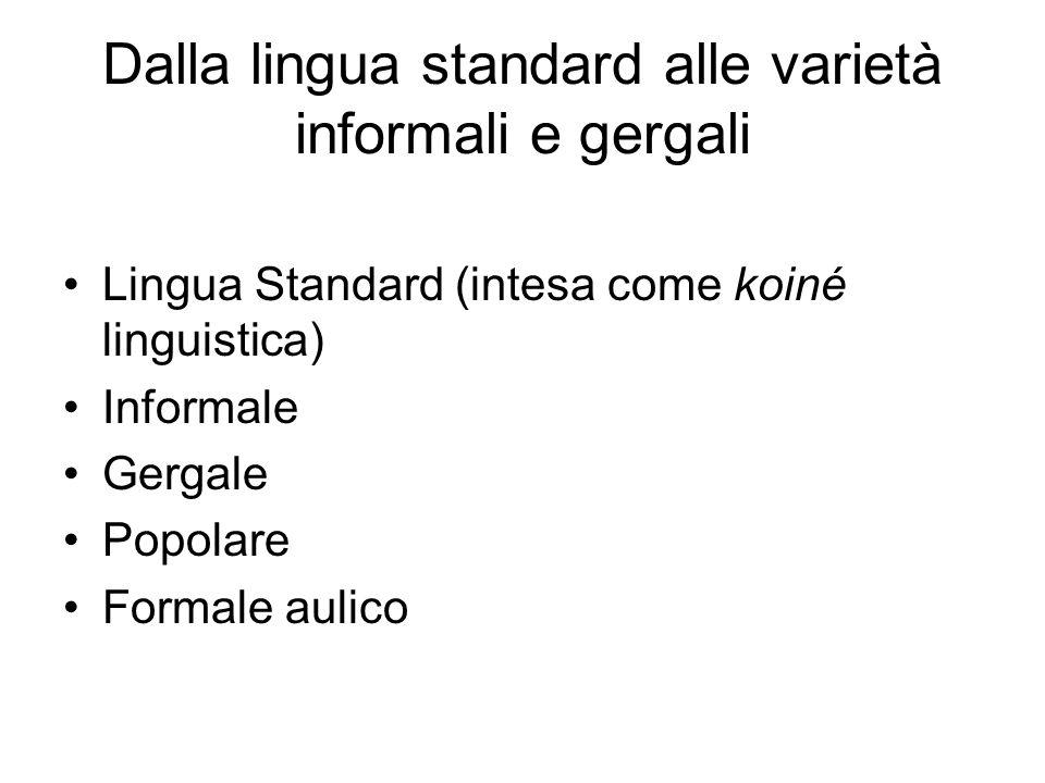 Dalla lingua standard alle varietà informali e gergali