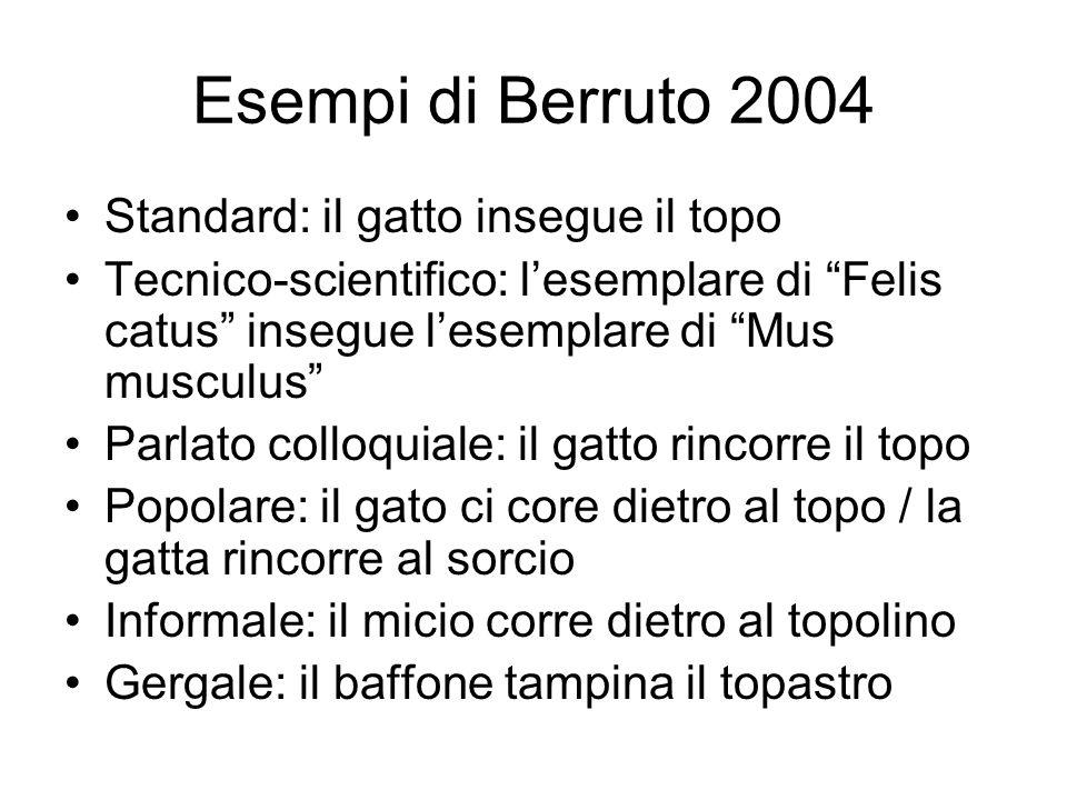 Esempi di Berruto 2004 Standard: il gatto insegue il topo