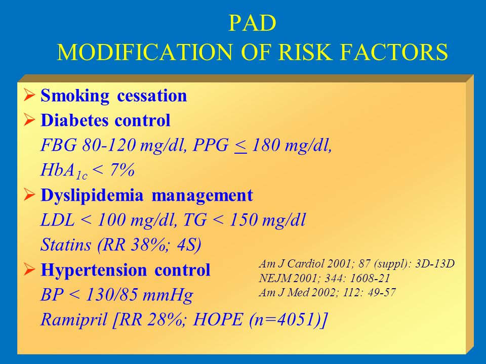 PAD MODIFICATION OF RISK FACTORS