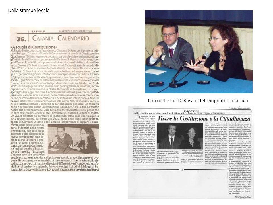 Dalla stampa locale Foto del Prof. Di Rosa e del Dirigente scolastico