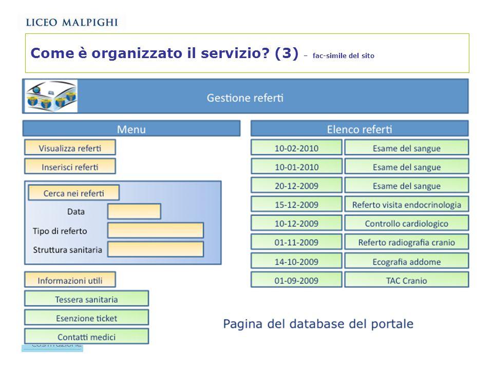 Come è organizzato il servizio (3) – fac-simile del sito
