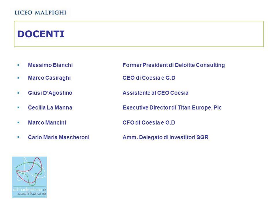 DOCENTI Massimo Bianchi Former President di Deloitte Consulting