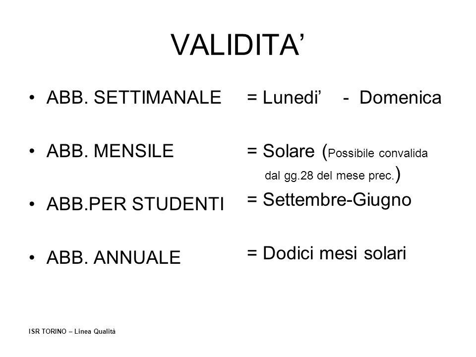 VALIDITA' ABB. SETTIMANALE ABB. MENSILE ABB.PER STUDENTI ABB. ANNUALE