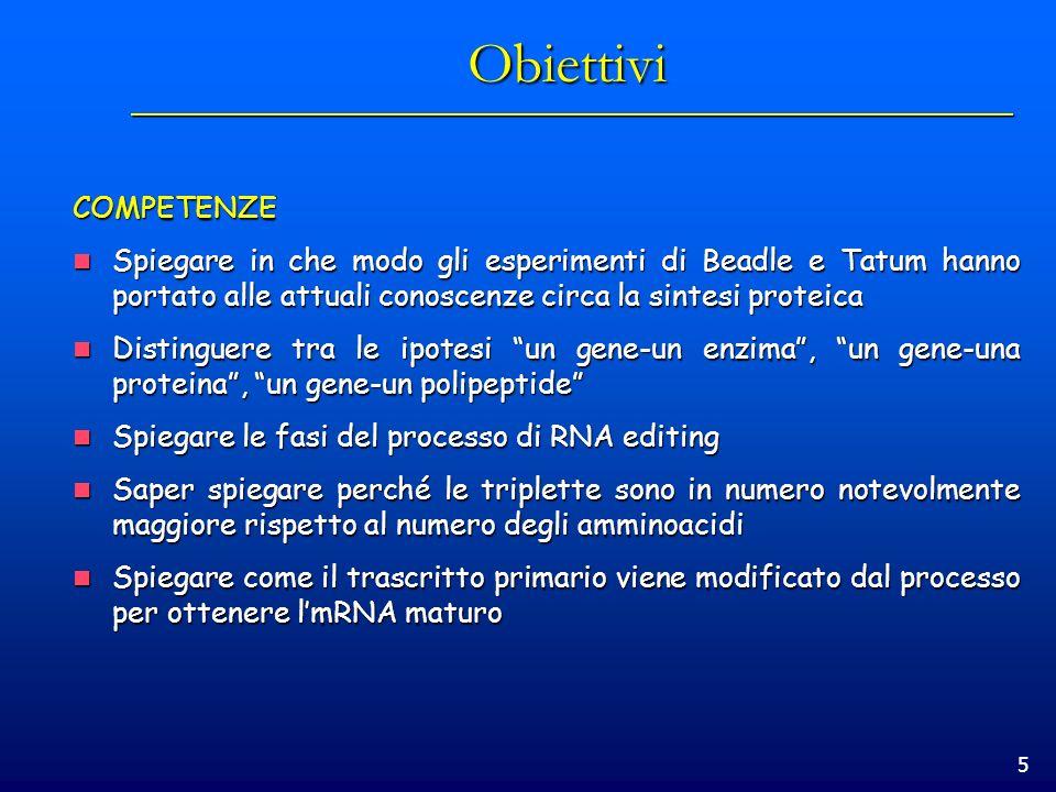 Obiettivi COMPETENZE. Spiegare in che modo gli esperimenti di Beadle e Tatum hanno portato alle attuali conoscenze circa la sintesi proteica.