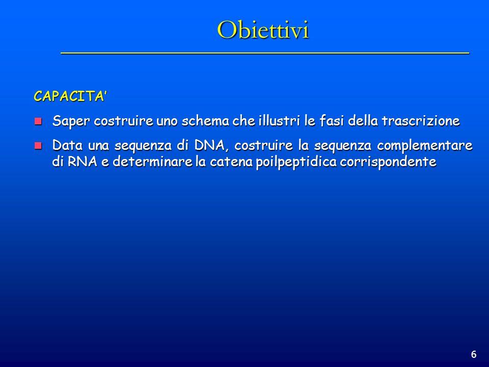 Obiettivi CAPACITA' Saper costruire uno schema che illustri le fasi della trascrizione.