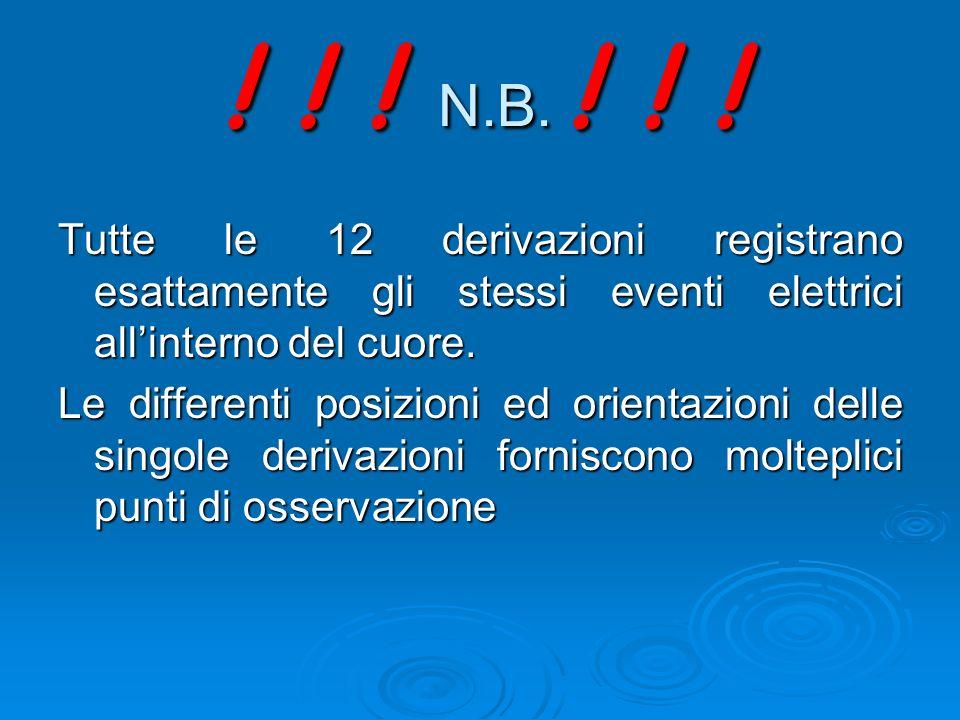 ! ! ! N.B. ! ! ! Tutte le 12 derivazioni registrano esattamente gli stessi eventi elettrici all'interno del cuore.