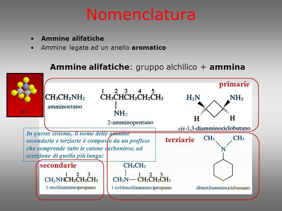 Ammine alifatiche: gruppo alchilico + ammina