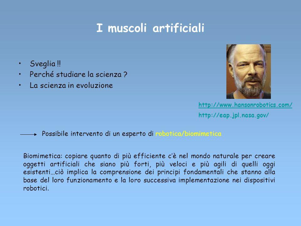 I muscoli artificiali Sveglia !! Perché studiare la scienza