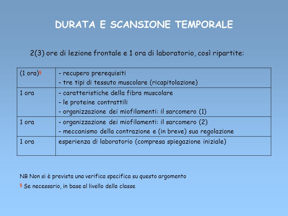 DURATA E SCANSIONE TEMPORALE