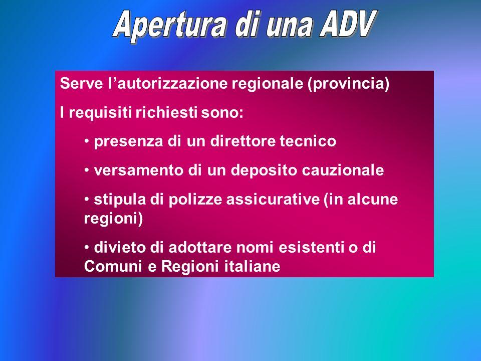 Apertura di una ADV Serve l'autorizzazione regionale (provincia)
