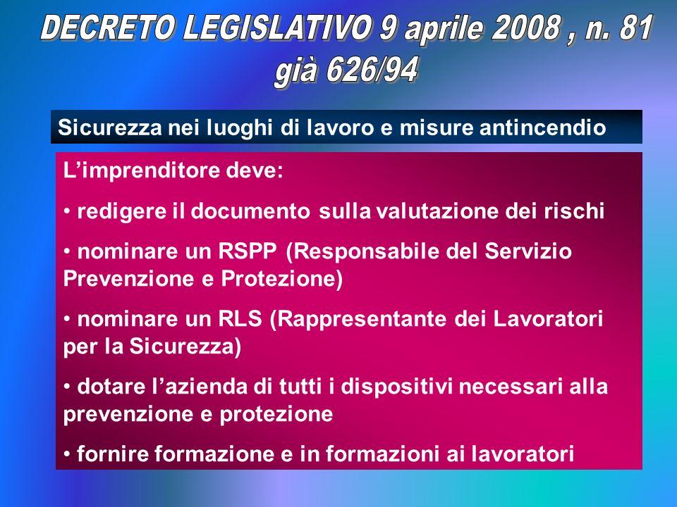 DECRETO LEGISLATIVO 9 aprile 2008 , n. 81