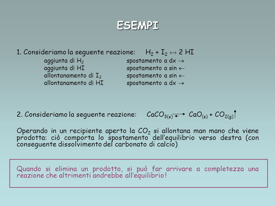 ESEMPI Consideriamo la seguente reazione: H2 + I2  2 HI