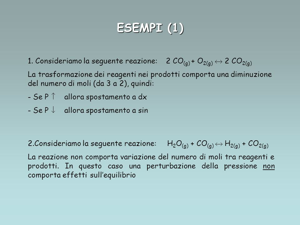 ESEMPI (1) Consideriamo la seguente reazione: 2 CO(g) + O2(g)  2 CO2(g)
