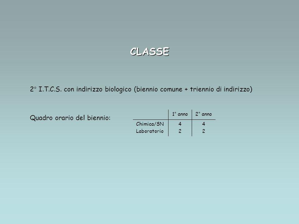 CLASSE 2° I.T.C.S. con indirizzo biologico (biennio comune + triennio di indirizzo) Quadro orario del biennio: