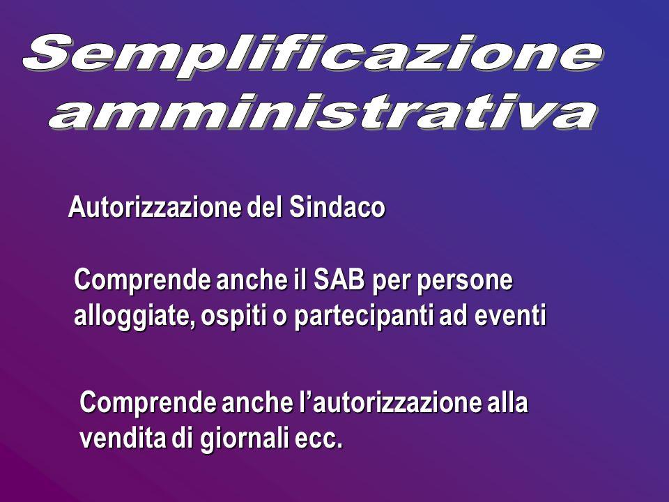 Semplificazione amministrativa Autorizzazione del Sindaco