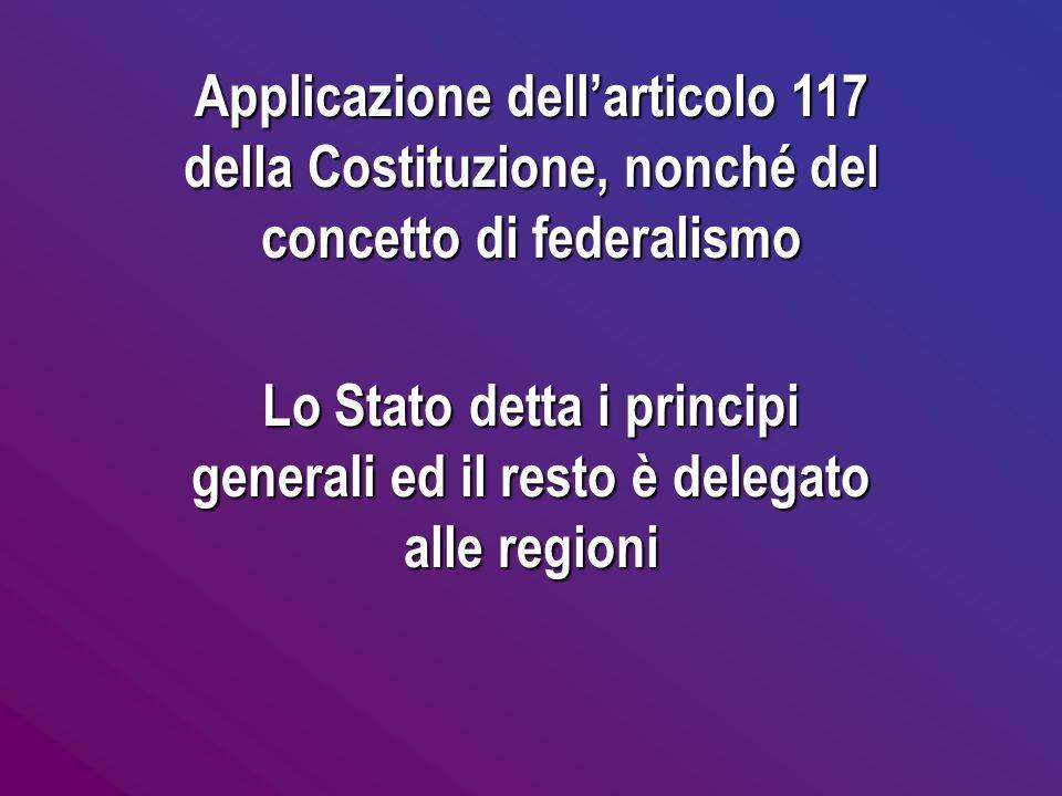Lo Stato detta i principi generali ed il resto è delegato alle regioni