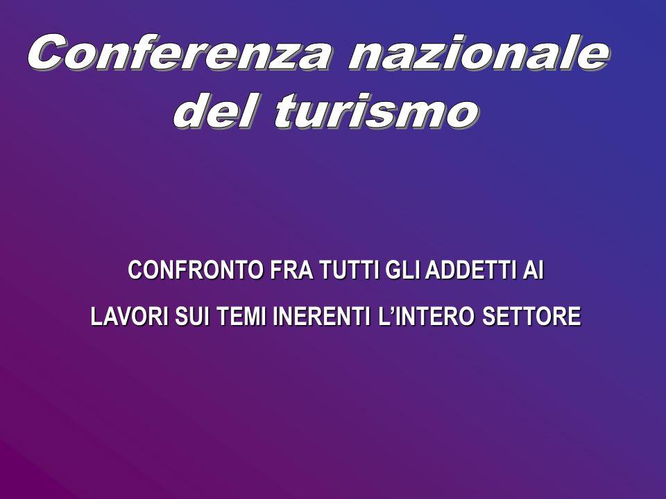 Conferenza nazionale del turismo CONFRONTO FRA TUTTI GLI ADDETTI AI