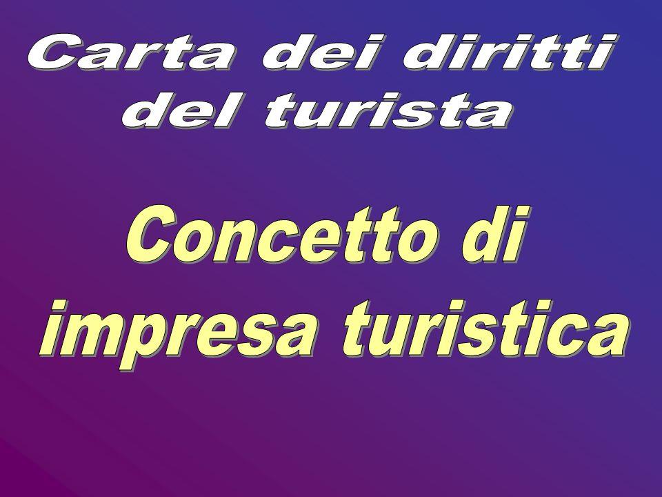Carta dei diritti del turista Concetto di impresa turistica