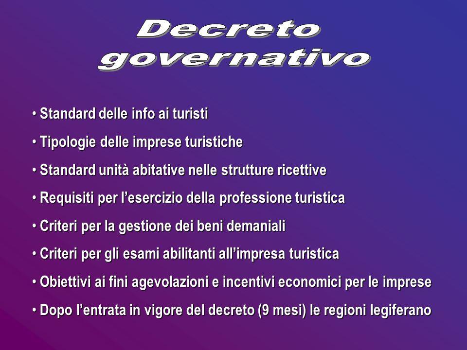 Decreto governativo Standard delle info ai turisti