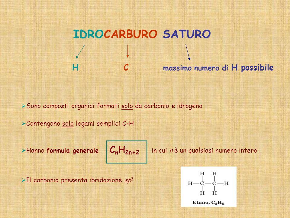 IDROCARBURO SATURO H C massimo numero di H possibile