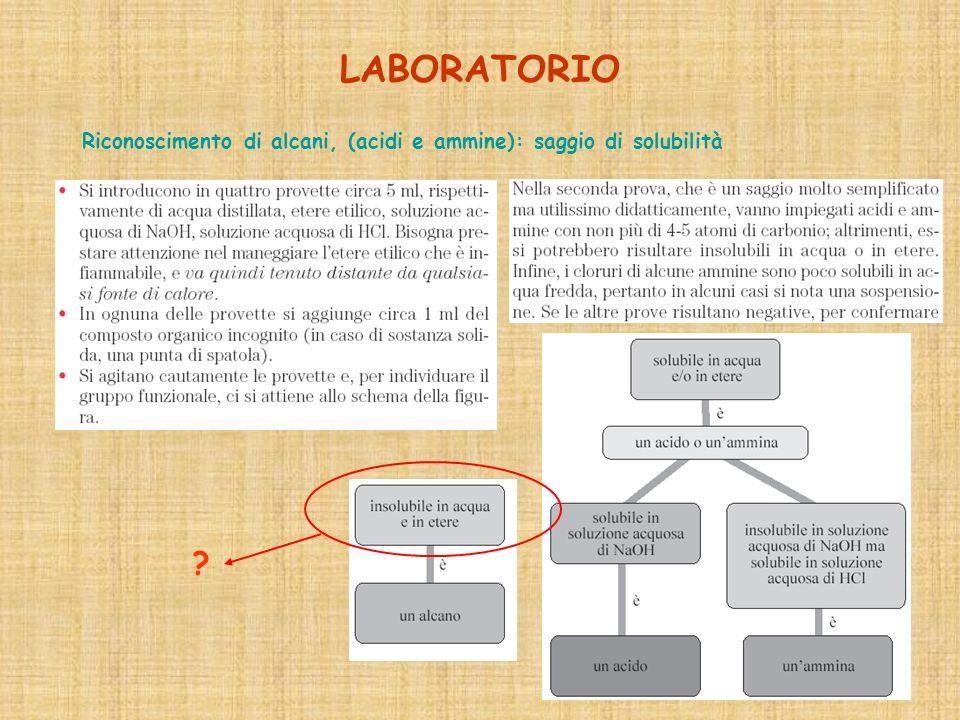 LABORATORIO Riconoscimento di alcani, (acidi e ammine): saggio di solubilità